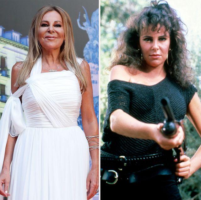 la actriz y presentadora, de blanco en el año 2021, y de negro con un arma en la mano en un fotograma de la serie equipo a de 1985