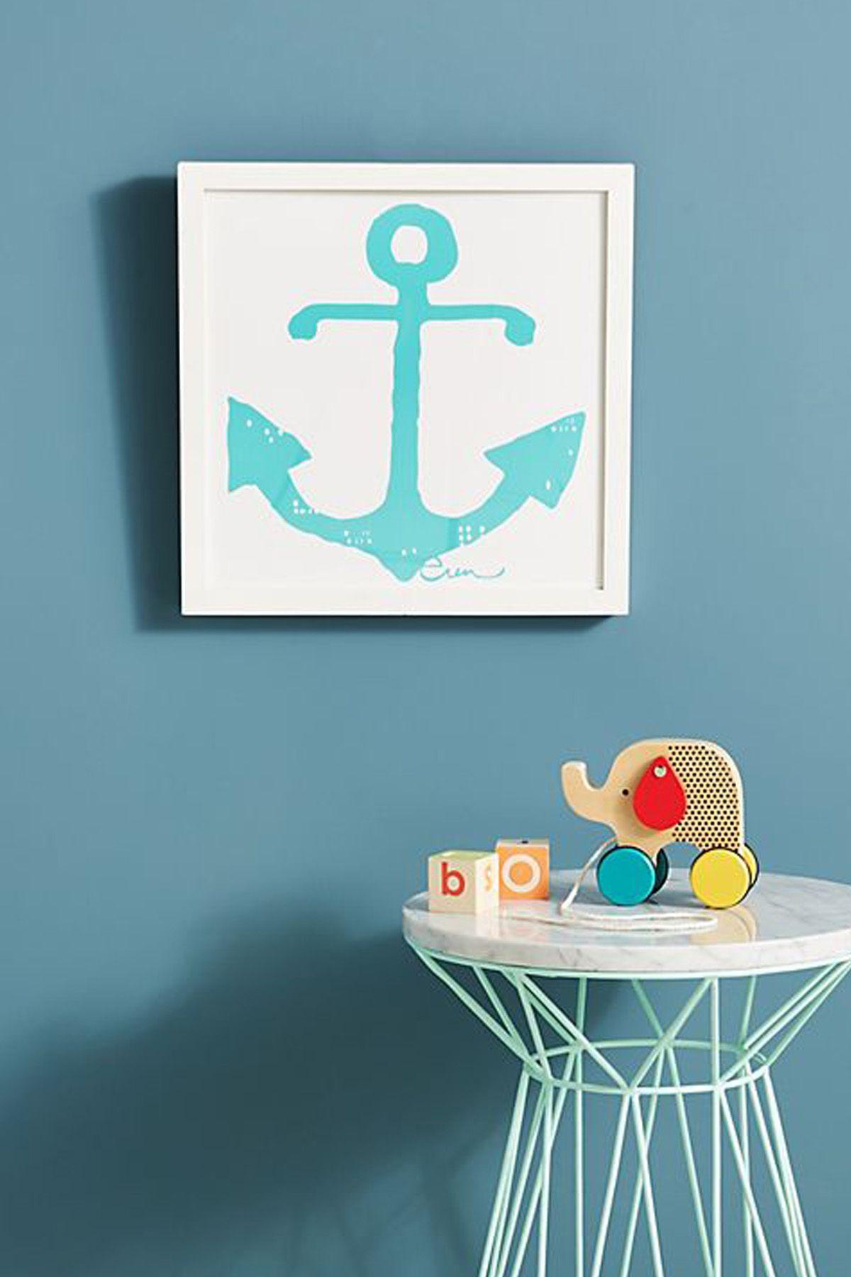 Nautical Table Runner Summer Home Decor Navy Blue Anchor Coastal Living Decor