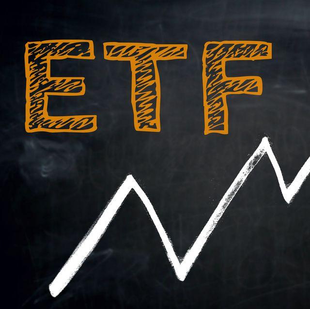 etf and graph is written by hand on blackboard