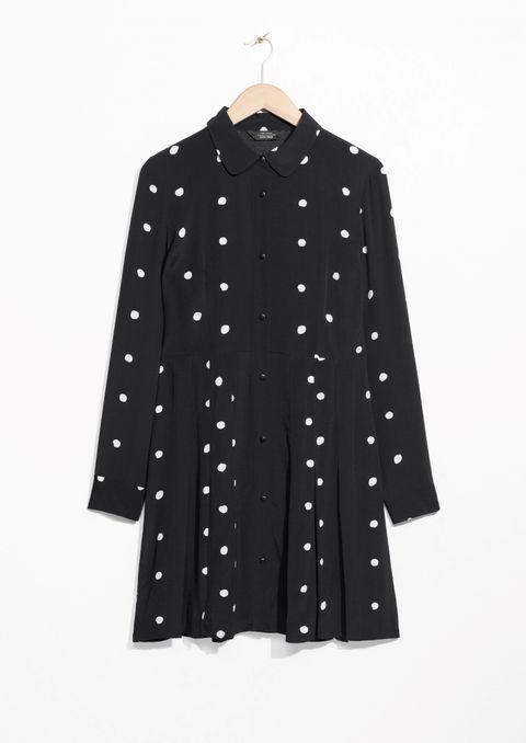 Clothing, Pattern, Outerwear, Sleeve, Polka dot, Collar, Design, Blouse, Button, Pattern,