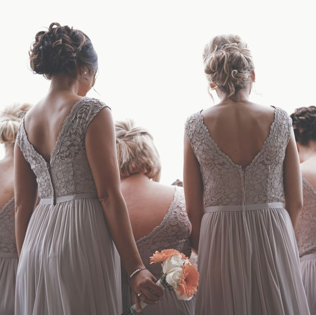 Photograph, Dress, Clothing, Bridal party dress, Shoulder, Hairstyle, Gown, Bride, Fashion, Wedding dress,