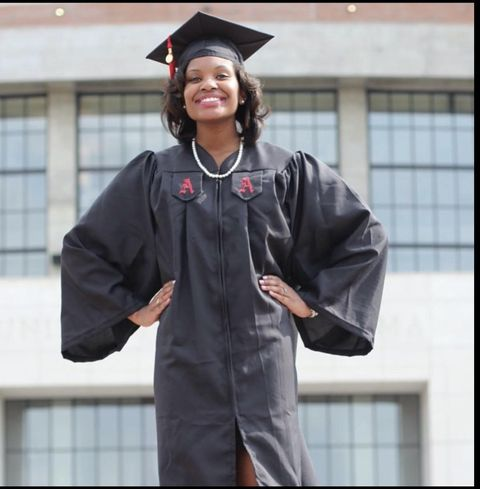 in high school, counselors and eye doctors strongly encouraged andrea to attend a small college in her hometown so she could continue living under her parents care she forged her own path by attending the university of alabama, an hour away home, and graduating with honors here andrea, age 22, poses on campus in her graduation regalia in may 2013
