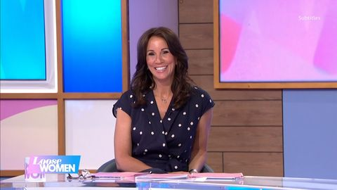 andrea mclean is super chic in gorgeous monsoon polka dot jumpsuit