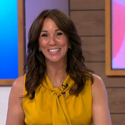 andrea mclean brightens up the screen in sunshine yellow jumpsuit