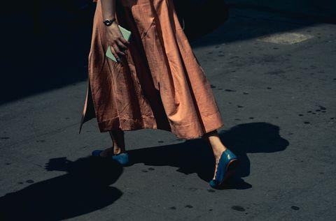 Blue, Human leg, Leg, Fashion, Footwear, Street fashion, Human body, Shadow, Shoe, Dress,
