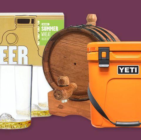 beer making kits, glass, mini barrel, yeti cooler