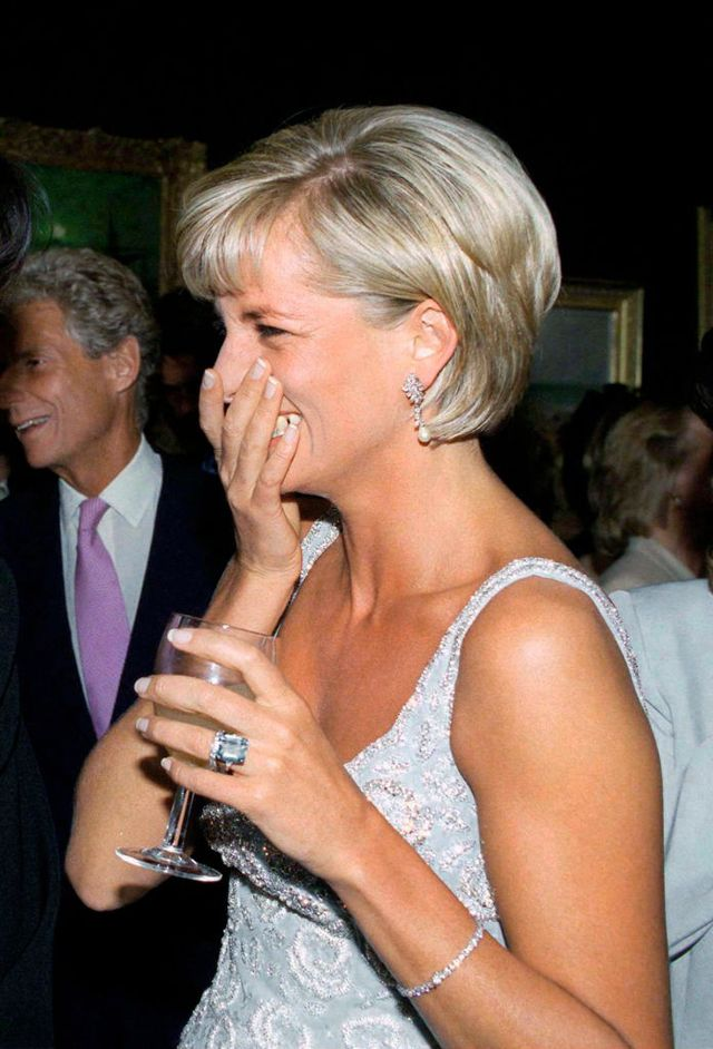 london, united kingdom   june 02  diana, princess of wales at the christie's pre auction party for the  launch of the auction of dresses she is wearing a dress by fashion designer catherine walker  photo by tim graham photo library via getty images