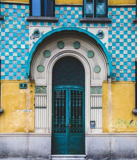 Blue, Yellow, Architecture, Green, Door, Turquoise, Wall, Facade, Building, Arch,