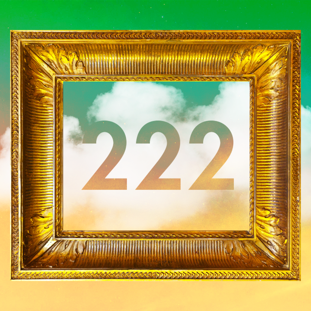 the number 222 is in the middle of a gold frame over a green and yellow cloudy sky