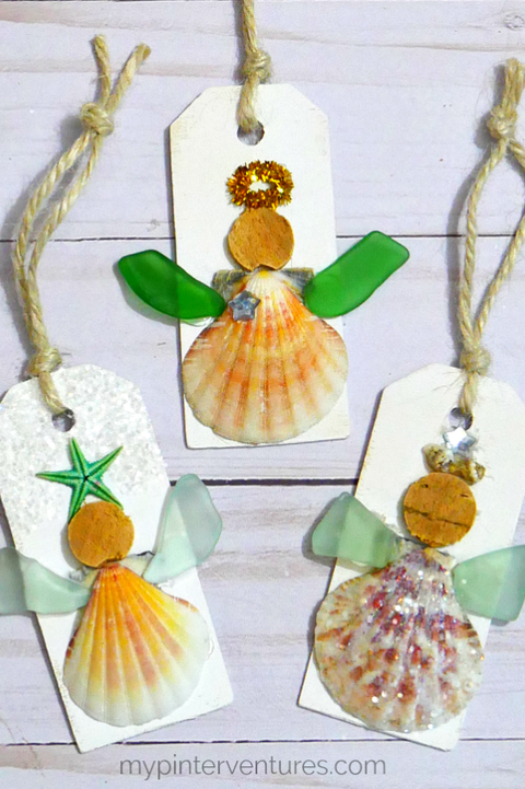 angel ornaments sea glass