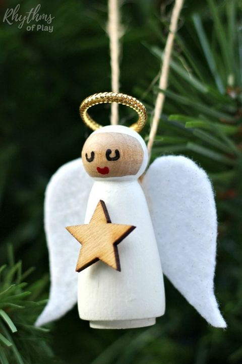 angel ornaments wooden peg