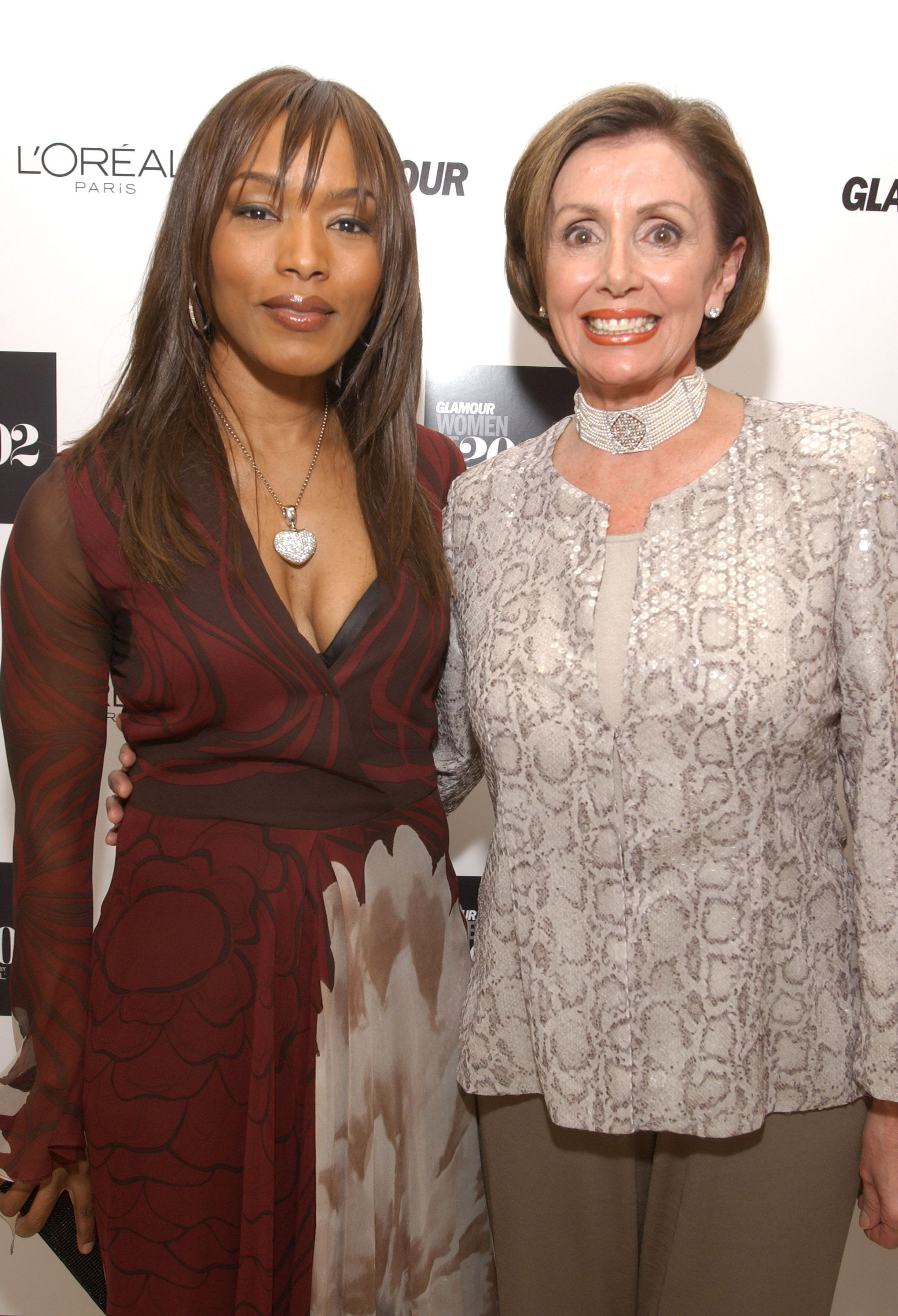 Pelosi with Angela Bassett at the Glamour Women of the Year Awards in New York.