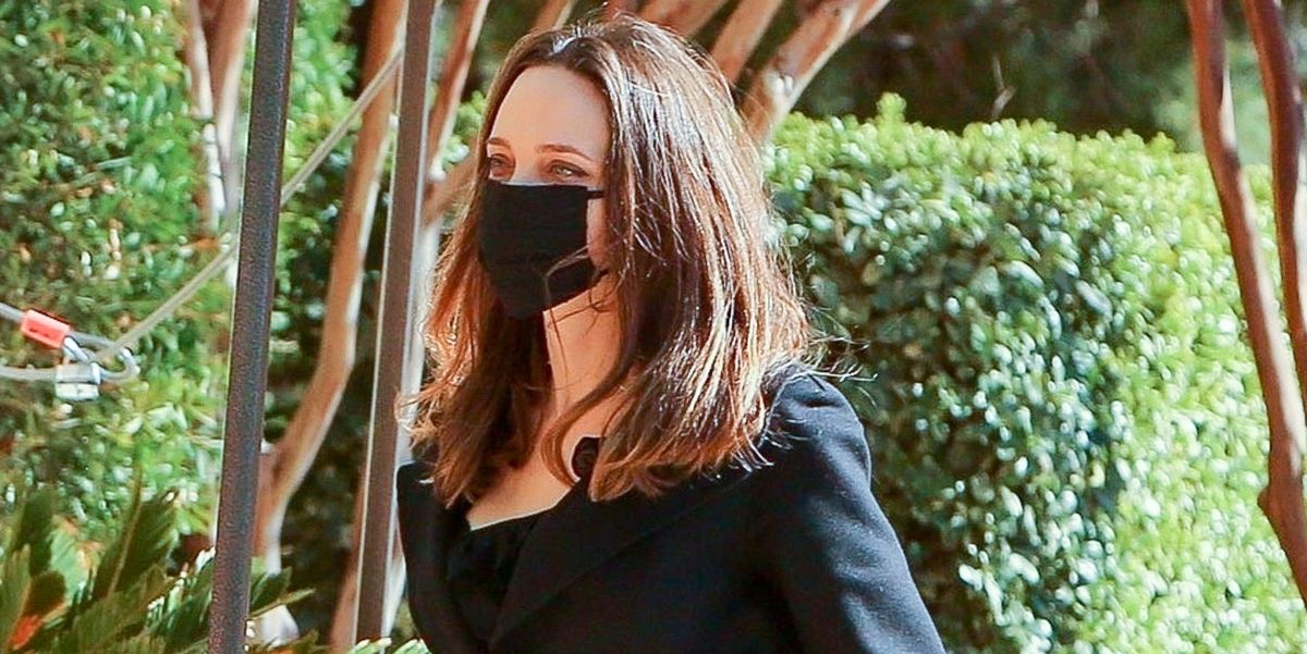 Angelina Jolie Went Shopping in a Chic Black Wrap Coat With Her Kids Shiloh and Zahara