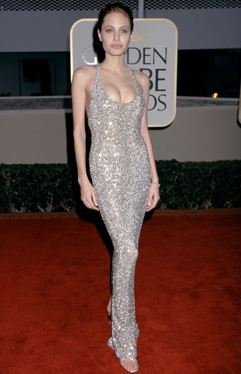 Angelina Jolie in Versace at the 1999 Golden Globes