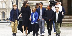 Angelina Jolie with her children visit the Louvre in Paris