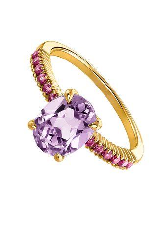 anillo de oro y amatista