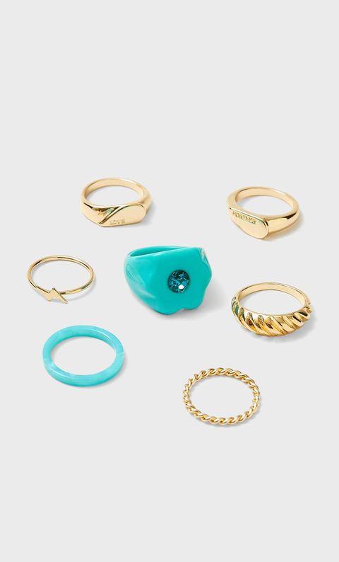 anillo plástico stradivarius