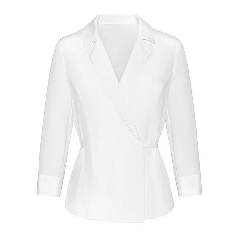 anine bing white silk wrap top