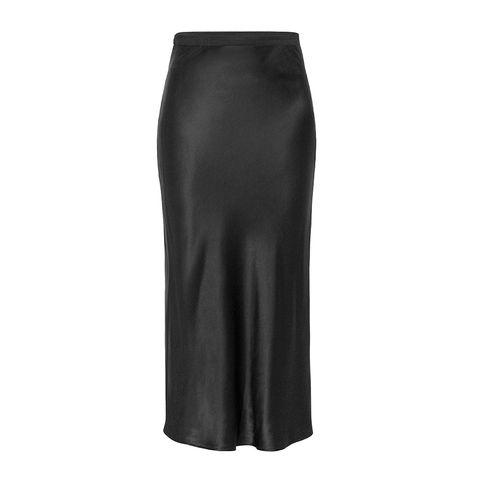 anine bing satin black slip skirt
