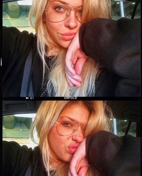 Hair, Face, Blond, Facial expression, Glasses, Lip, Nose, Selfie, Head, Hairstyle,