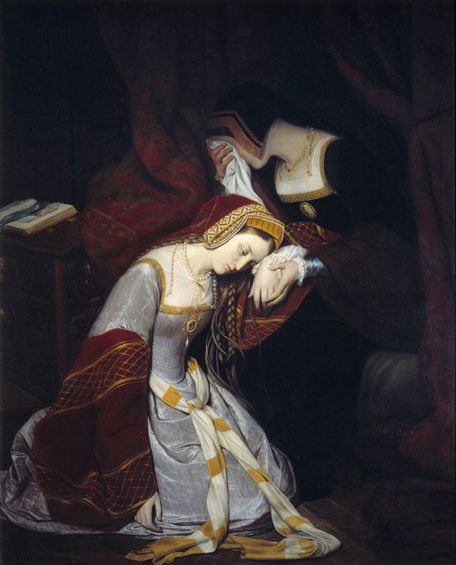 anne boleyn anna or ann bolin and anne bullen, 15011507 1536 in the tower of london 1536 painting by edouard cibot 1799 1877, 1835 musee rolin, autun, france photo by leemagecorbis via getty images