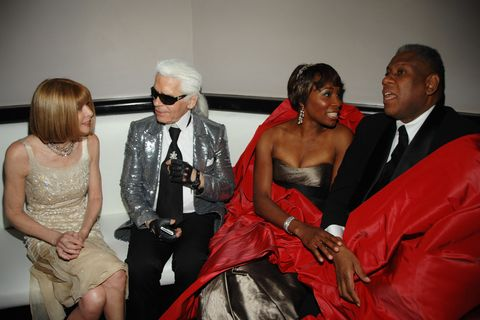 anna wintour, karl lagerfeld, venus williams and andré leon talley attend the nina ricci after party for the met ball on may 5, 2008 in new york cit