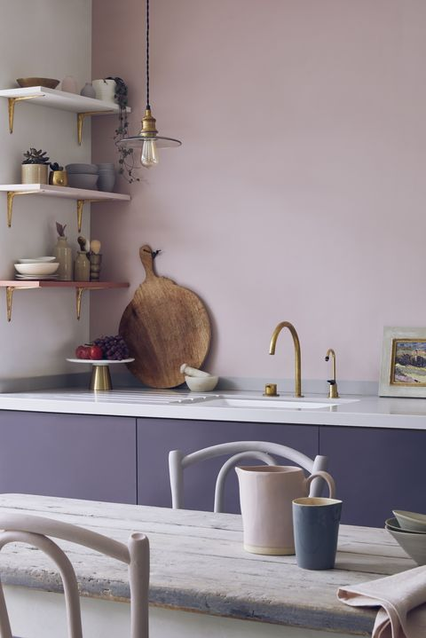 Annie Sloan Painted Kitchen   Cupboards in Premixed Aubusson Blue And Emperors Silk Chalk Paint Wall