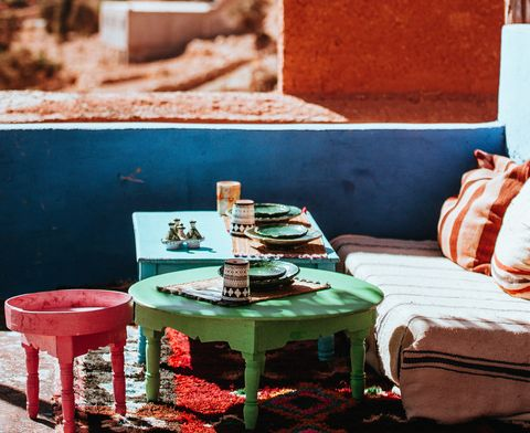 Red, Blue, Turquoise, Table, Wall, Summer, Vacation, Furniture, Room, Tree,