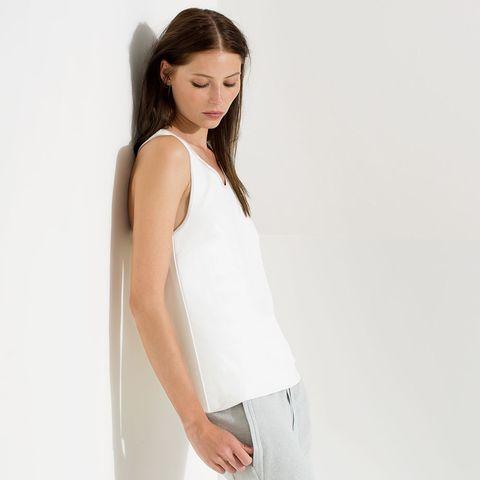 Clothing, White, Shoulder, Neck, Sleeveless shirt, Dress, camisoles, Waist, Sleeve, Top,