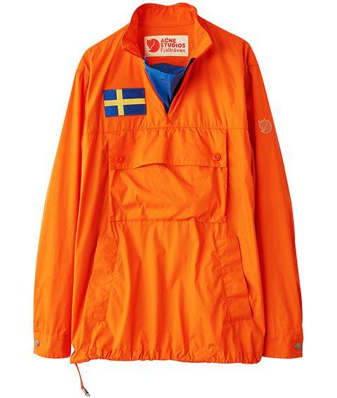 Clothing, Orange, Outerwear, Sleeve, Yellow, Jacket, Workwear, Windbreaker, Collar, Sportswear,