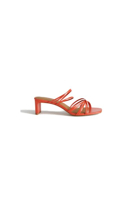 Footwear, Orange, Sandal, Slingback, Red, Shoe,