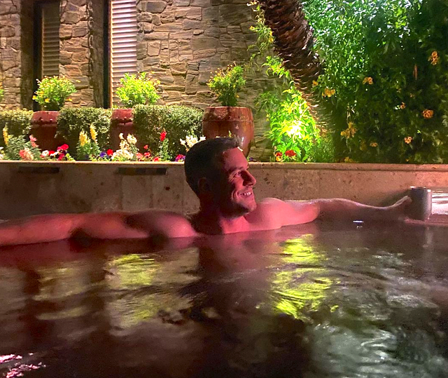 ant anstead in a hot tub in arizona