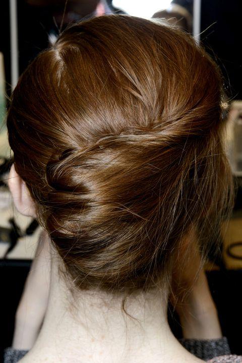 Hair, Hairstyle, Hair coloring, Brown hair, Long hair, Shoulder, Chignon, Chin, Bun, Blond,