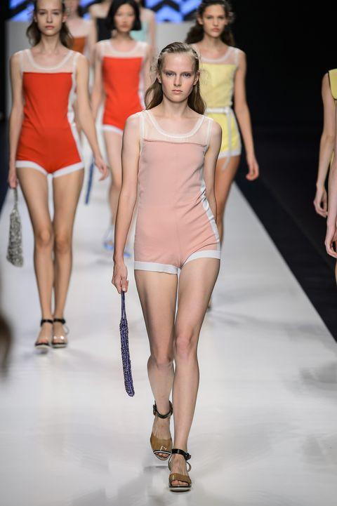 Fashion model, Fashion, Fashion show, Runway, Clothing, Shoulder, Model, Event, Joint, Fashion design,