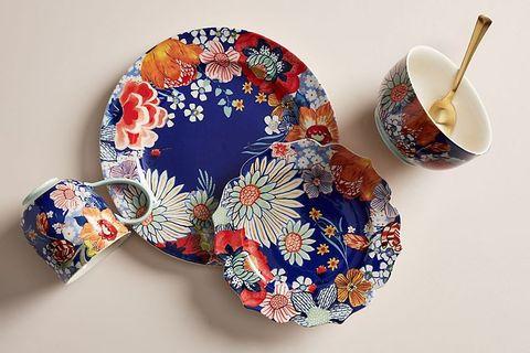 Blue, Cobalt blue, Porcelain, Ceramic, Dishware, Tableware, Teacup, Serveware, Dinnerware set, Plate,