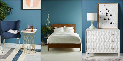Bedroom, Furniture, Bed, Room, Blue, Interior design, Product, Wall, Bed frame, Bed sheet,