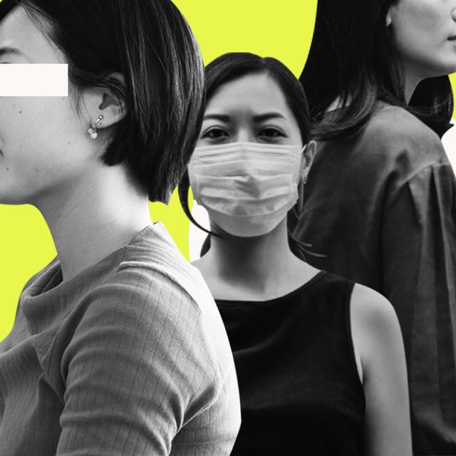 three asian women wearing masks