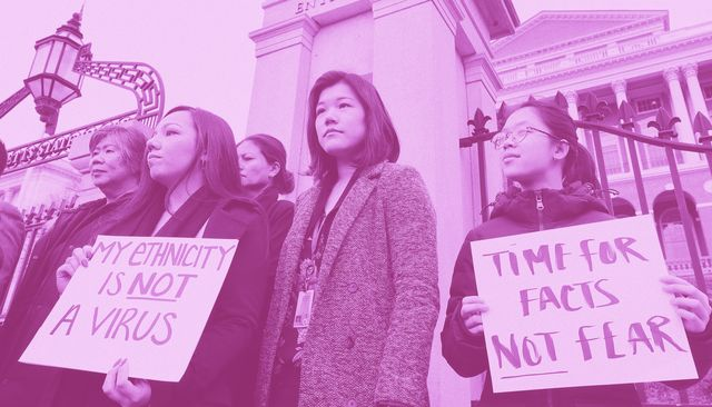 asian american women condemning fear mongering and misinformation aimed at asian communities amid the coronavirus pandemic