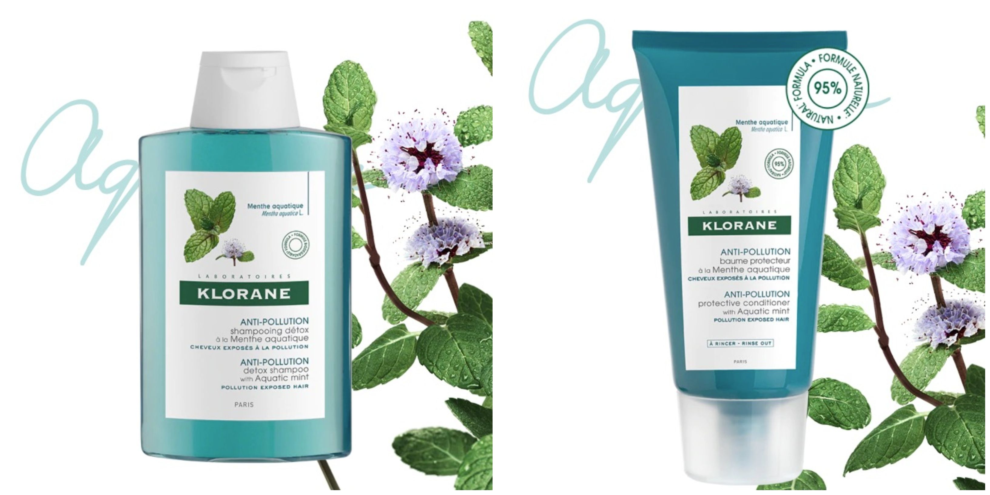 Klorane's Anti-Pollution shampoo and conditioner claims to depollute water while detoxifying hair