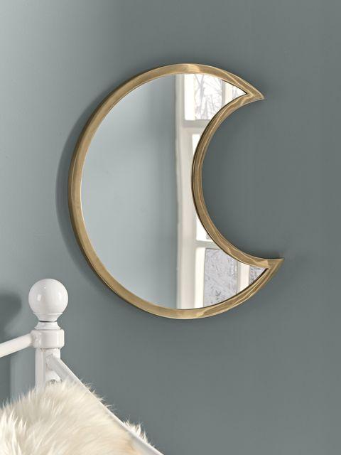 antique brass crescent moon mirror