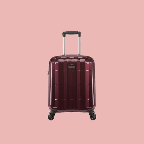 Suitcase, Hand luggage, Baggage, Product, Maroon, Bag, Rolling, Luggage and bags, Wheel, Magenta,