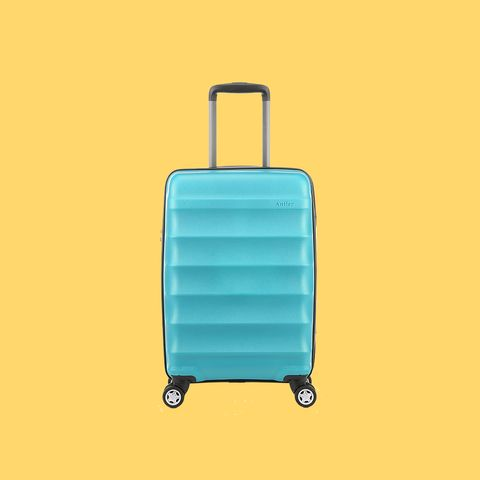 Suitcase, Hand luggage, Turquoise, Product, Yellow, Teal, Baggage, Rolling, Luggage and bags, Bag,