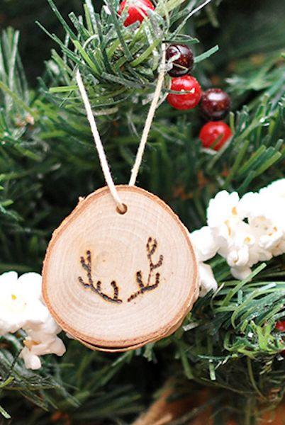 DIY Christmas Ornaments Antler Wood Slice