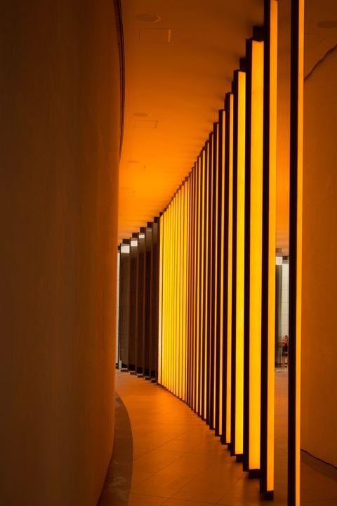 Yellow, Orange, Architecture, Line, Column, Building, Interior design,