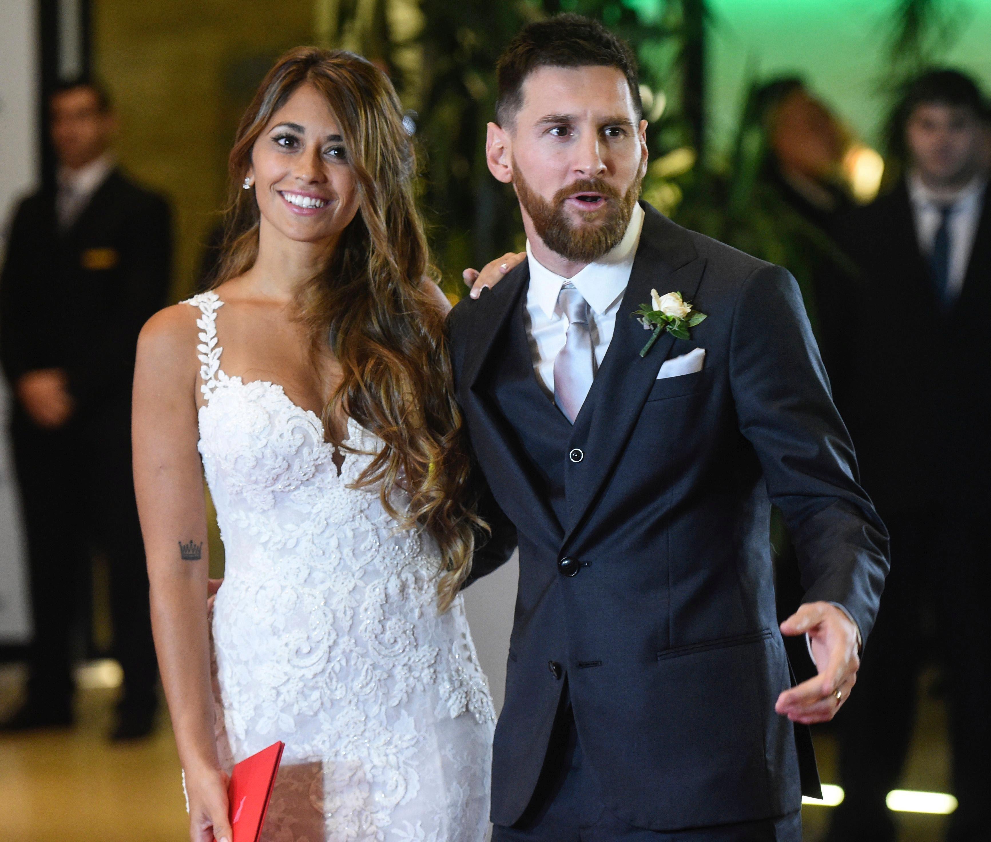 Leo Messi y Antonella Roccuzzo el día de su boda
