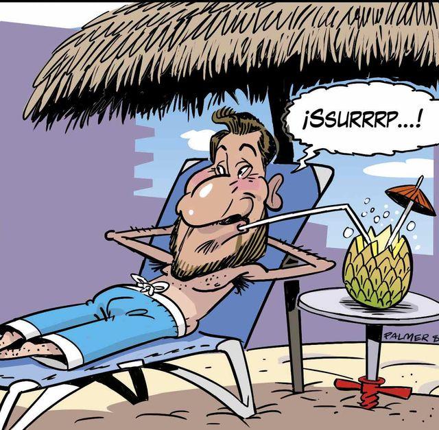 Tira cómica: Antonio David vigilia su nuevo negocio: un chiringuito de playa