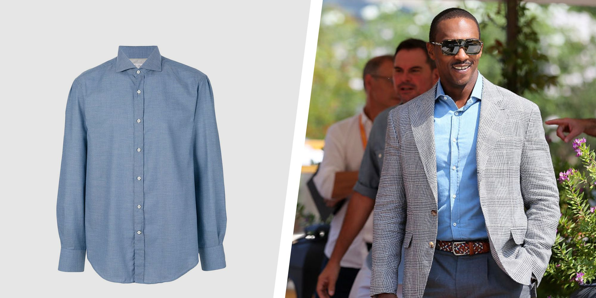 Get Anthony Mackie's Polished Chambray Shirt to Carry You Into Fall