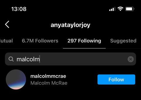 anya and malcolm following each other on instagram