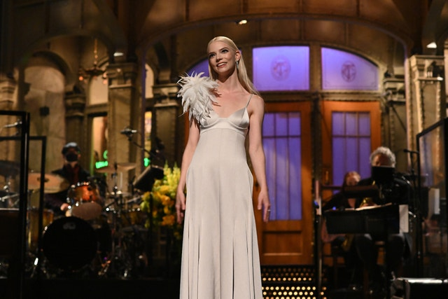 """saturday night live    """"anya taylor joy"""" episode 1805    pictured host anya taylor joy during the monologue on saturday, may 22, 2021    photo by will heathnbcnbcu photo bank via getty images"""