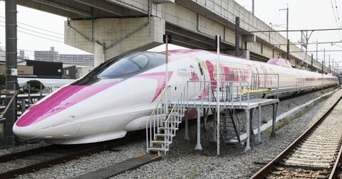 Train, Transport, Railway, High-speed rail, Bullet train, Rolling stock, Vehicle, Mode of transport, Track, Pink,